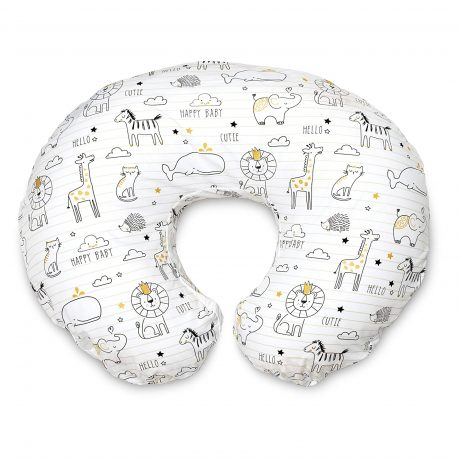 Breast feeding pillow with animals.