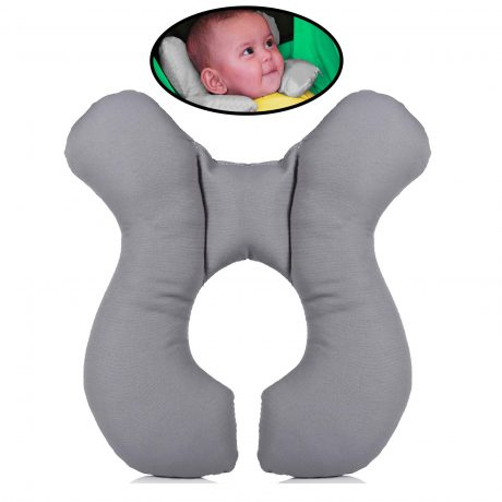 Baby with car seat pillow.